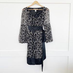 Diane von Furstenberg, Silk Wrap Dress Black White